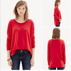 Madewell Red Rowhouse Pullover Sweater
